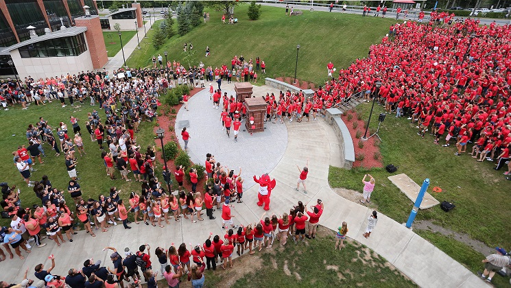 Students gather in the quad to wish SUNY Oneonta a Happy Birthday