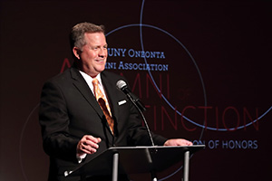 Alumni of Distinction Honoree (AOD) Greg Floyd '80 played emcee for the event.