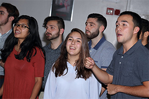 Acapella group Hooked on Tonics performed at the 2018 Alumni of Distinction presentation of Honors